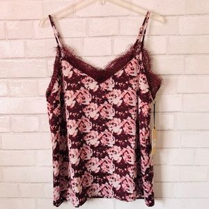 Halogen Burgundy Rose Satin And Lace Cami Size Lg